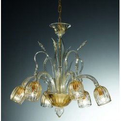 "Murano glass artistic chandelier Artital ""San Marco"" 6 lights"