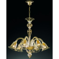 "Murano glass artistic chandelier Artital ""Canaletto"" 6 lights Amber"