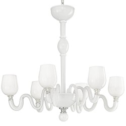 White Venetian artistic glass chandelier with 6 lights
