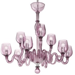 Purple Venetian artistic glass chandelier with 6+3 lights