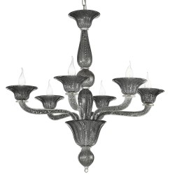 Black-silver Venetian glass chandelier with 6 lights