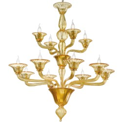 Amber artistic Venetian glass chandelier with 8+4 lights