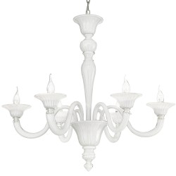 White and crystal Venetian glass chandelier with 6 lights