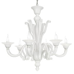 White and crystal Venetian glass chandelier 1004 6 lights