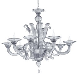Smoked Venetian glass chandelier 1004 8 lights