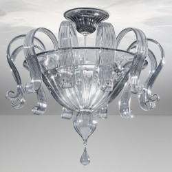 Smoked Venetian glass ceiling lamp 1004 6 lights