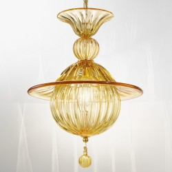 Amber blown Venetian glass chandelier 1005