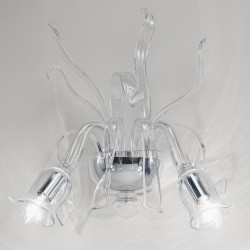 Venetian glass wall sconce in transparent glass 2 lights