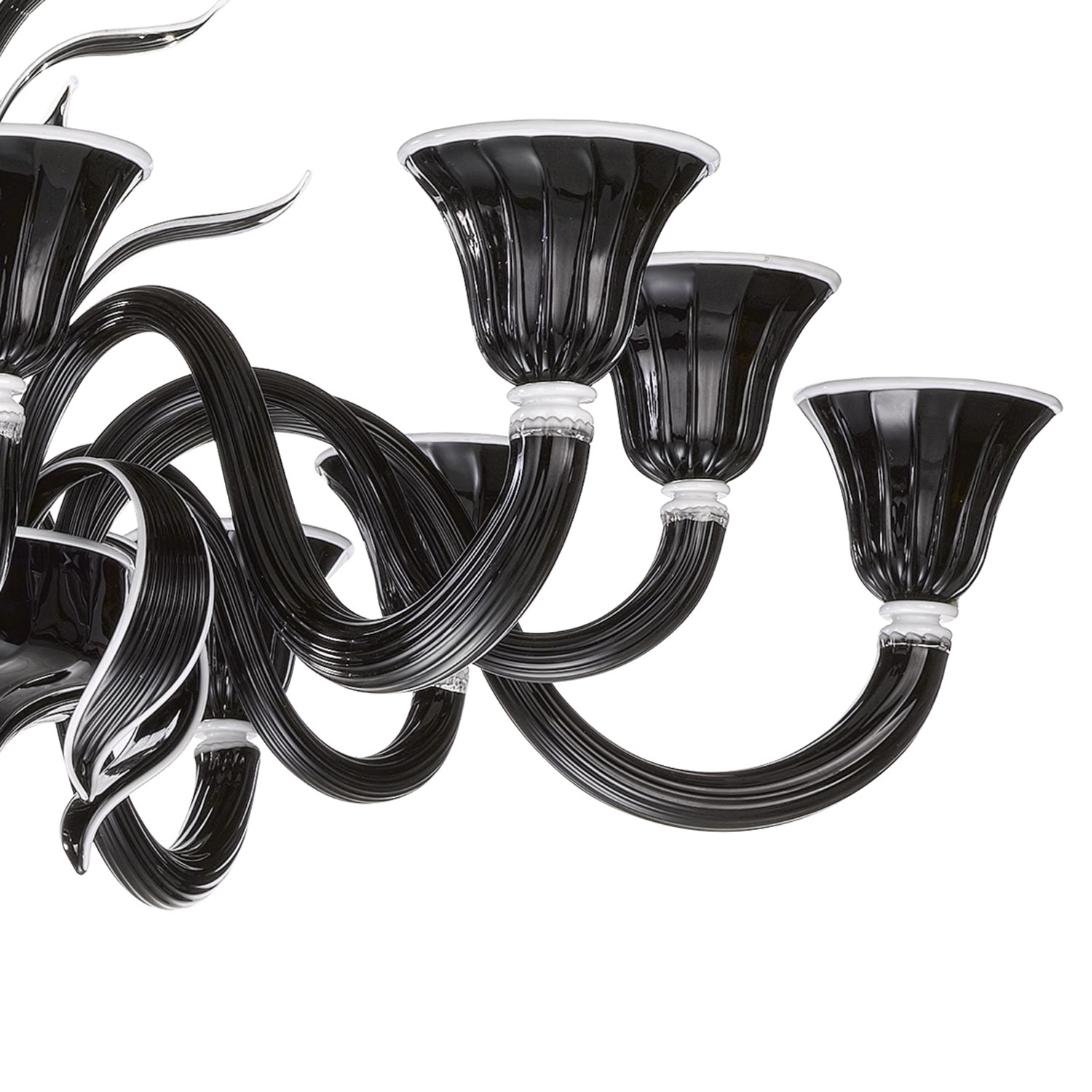 Murano Glass Chandelier In Black And White Glass 6 6