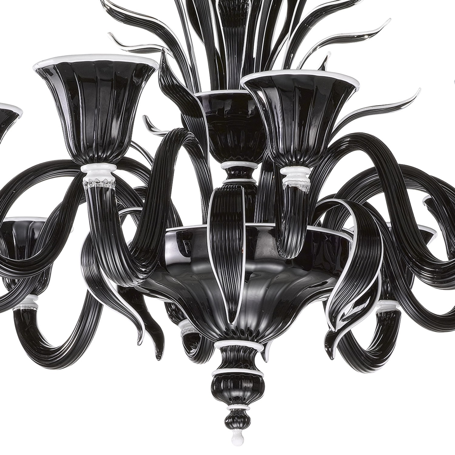 Murano glass chandelier in black and white glass 6 6 lights 1011