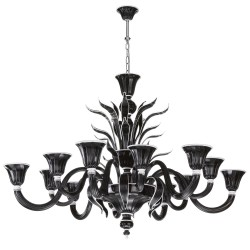 Venetian glass chandelier in black and white glass 6+6 lights 1011