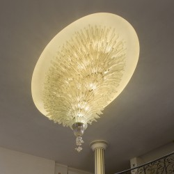 Artistic gold glass oval ceiling lamp with leaf