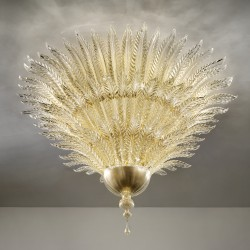 Artistic gold glass ceiling lamp with leaf