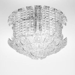 Artistic clear crystal glass ceiling lamp hand made in Venice