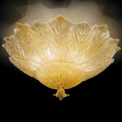 Artistic amber glass ceiling lamp hand made in Venice 510
