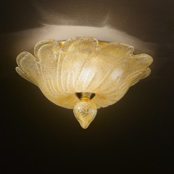 Artistic amber glass ceiling lamp hand made in Venice 522PL30