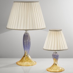 Table lamp in Venetian Glass with fabric pleated lampshade 1032CR
