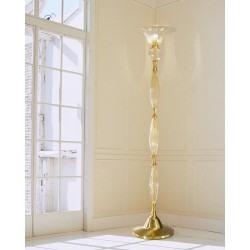 Floor lamp in Venetian Glass with fabric pleated lampshade 1032PT