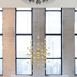 Suspension lamp with blow glass spheres 1022