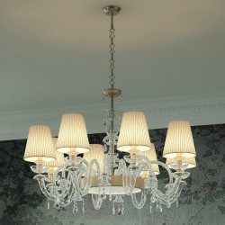INTRECCI 1300/8 Glass chandelier with lampshades