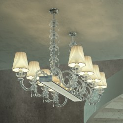 INTRECCI 1310/8 H88 Glass chandelier with lampshades