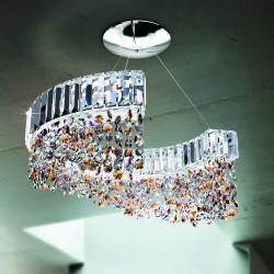 DIADEMA 9260/S55 Suspension lamp with lead crystal