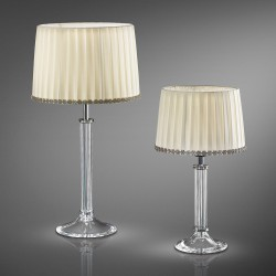 Table lamp with beige fabric lampshade