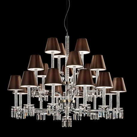 Crystal chandelier Prezioso with lampshade