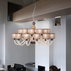 Chandelier Rigato with dove lampshades and black glass details