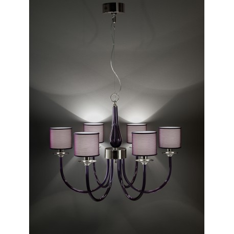 Chandelier 383 in crystal and purple diffusers