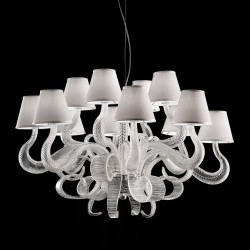 Boa suspension with torchlight glass arms and lampshades in fabric