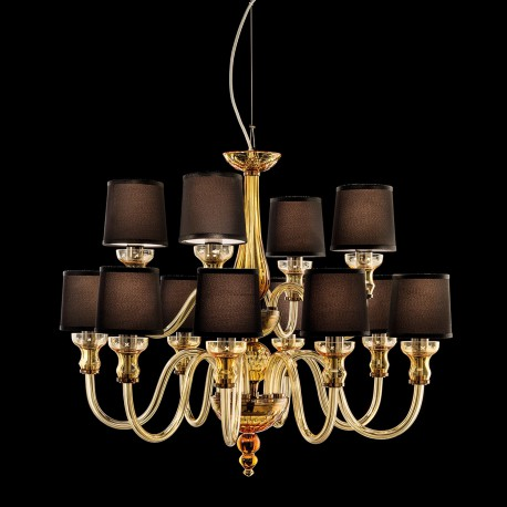 Carved crystal and glass chandelier with fabric shades