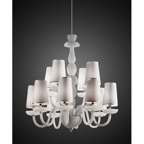 Carved crystal chandelier in white