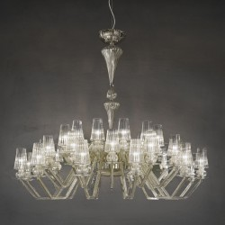 Carved crystal chandelier Albatros in teak color