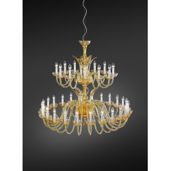 Chandelier 290 in carved crystal and amber glass