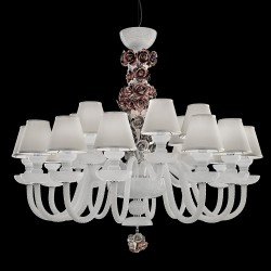 Rosemarie white crystal chandelier with ceramic details