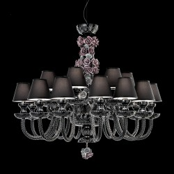 Rosemarie black crystal chandelier with ceramic details