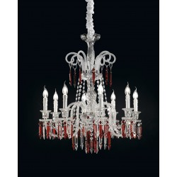 Chandelier with glass pendants 474/8/CR/MIX ROSSO